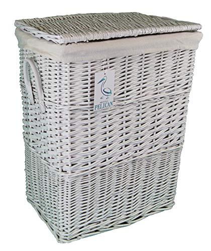Cesta de mimbre para la ropa sucia, tamaño medio, color blanco. Cesta de lino con forro 100% algodón extraíble.
