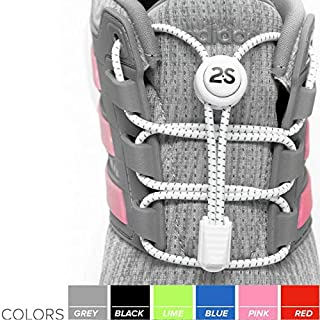 [2 Pack No Tie Shoelaces for Kids and Adults - Tieless Elastic Shoe lace with Lock for Sneakers Rubber - Round Shoe Laces