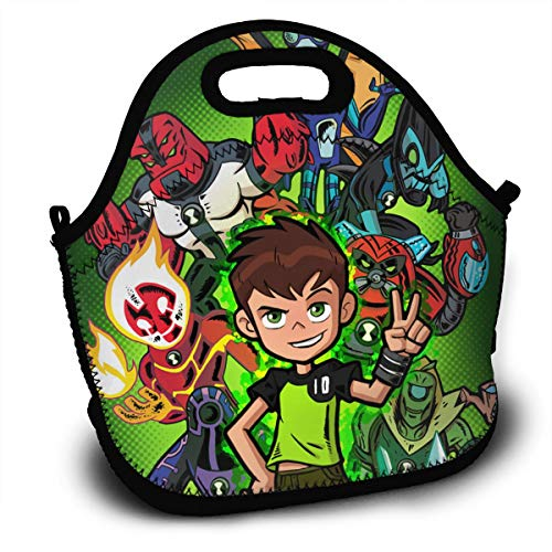 CNJELLAW B-Ben-10 Unique Reusable Lunch Bags Lunch Tote Lunch Holder Sack Backpack for Office & School