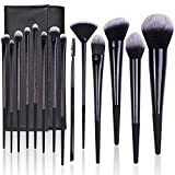 brochas de maquillaje, LEUNG Juego de 14 brochas de maquillaje profesionales, base sintética, polvos, sombras de ojos, correctores, brochas de belleza con bolsa de viaje para cosméticos, negro