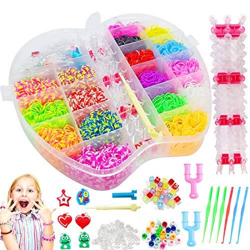 Sunshine smile Loom Bänder Set, 3500 pcs Bunt Gummibänder Starter Box, DIY Gummibänder Loom Bänder Box, Rainbow Armbänder, Kinderspielzeug für Geburtstagsgeschenk Weihnachten