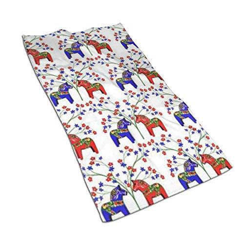 aiteweifuzhuangdian Floral schwedische Dala Pferde Mikrofaser-Haartuch, einzigartige Designer entworfen Bedruckte Handtuch,schnell trocknendes Handtuch, Sporthandtuch, benutzerdefinierte