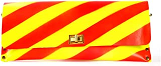 HABIT-Yellow And Red Diagonal Stripe Leather Clutch hand Bag for Shopping- Travelling- Camping