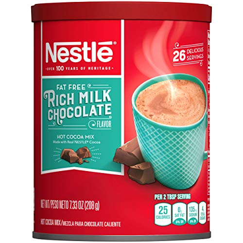 NESTLE Fat Free Rich Milk Chocolate Hot Cocoa Mix, Hot Chocolate Made with Real Cocoa, 7.33 Ounce Canister, Pack of 4 (Packaging may vary)