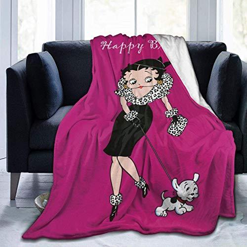 wenhe Betty Boo Manta de forro polar acogedora hecha de franela de felpa, manta para el hogar, cama, sofá, resistente a las arrugas, manta suave mide 152 x 127 cm para adolescentes