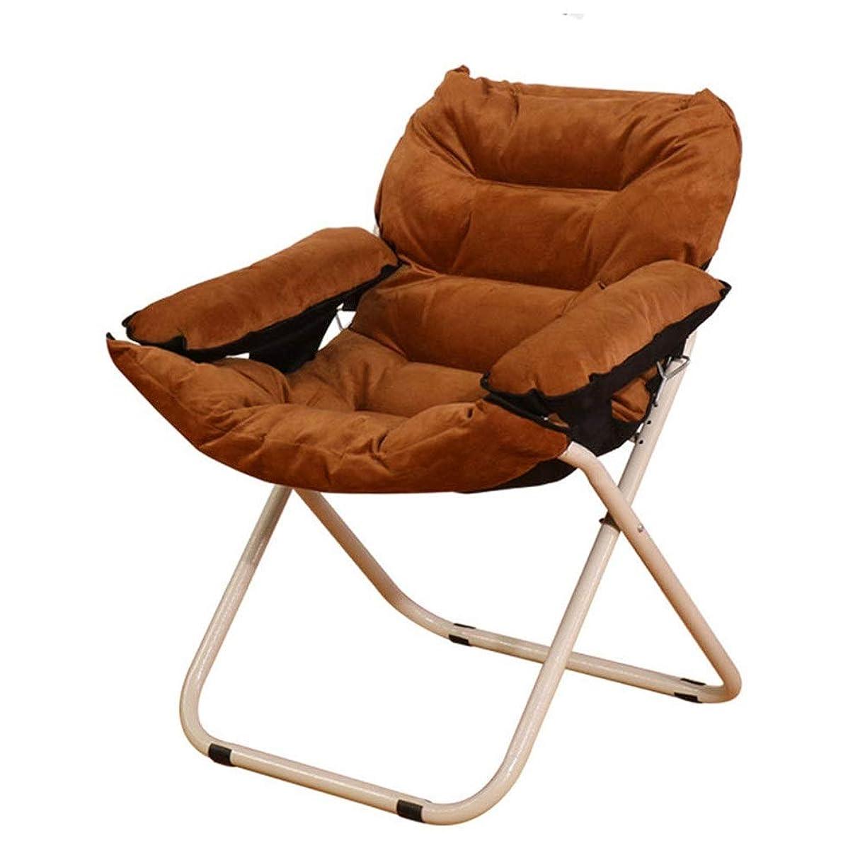 ローラー合図ロードハウス怠惰なソファラウンジチェアフラットデザイン簡単折り家庭用ランチ休憩高齢者怠惰な折りたたみ椅子 個人的な時間を快適に楽しむ (色 : 褐色, サイズ : 62*62*92cm)