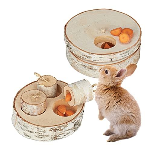 Relaxdays Kaninchen Spielzeug, 2 TLG. Set, Intelligenzspielzeug, Holz, Beschäftigung Hasen & Meerschweinchen, Natur