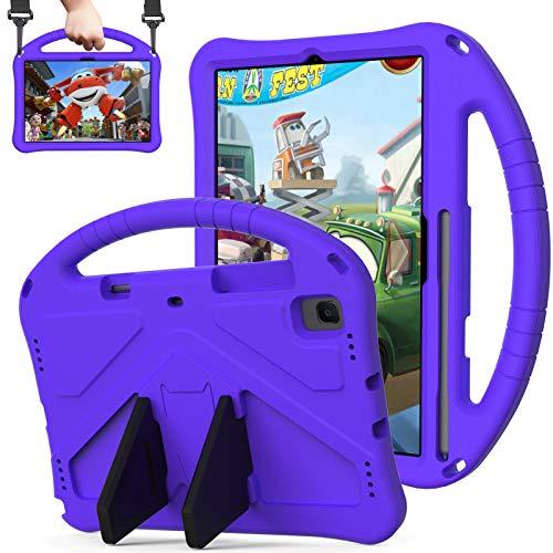 QYiD Funda Infantil para Galaxy Tab S6 10.5' 2019 (SM-T860/T865/T867), Ligero EVA Antigolpes Protectora para niños con Portalápiz & Bandolera, Soporte Convertible para Galaxy Tab S6 10.5 2019, Púrpura