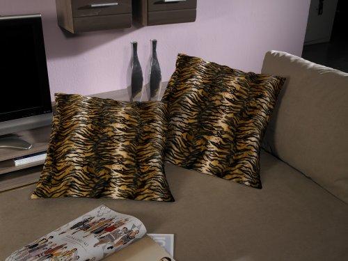 Artra Set van 2 kussens, hoezen, overtrek 'Tiger' 40x40, vierkant met ritssluiting, kussensloop, kussenhoes, hoes, overtrek, deco, sierkussen, sierkussen