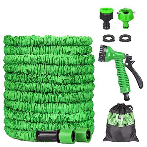 Manguera Jardín, Manguera Jardin Flexibles Extensible Antifugas, Manguera de Jardín 8 Tipos de Interruptores Pulverización para Riego de Plantas, Lavado de Autos, Ducha para Mascotas (75FT)