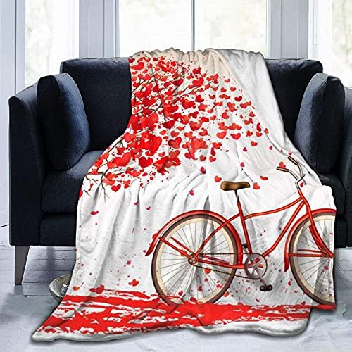 Bicicleta día de San Valentín ultra suave manta de forro polar para viajar camping casa cama salón sofá D2987