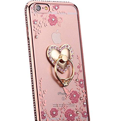 【DENGDING】iPhone X ケースリング付き iPhone6 iPhone6Plus iPhone7 iPhone7Plus iPhone8 iPhone8Plusハート 花柄 アイホン フィット クリアケース 片手操作 スタンド シリコン ラインストーン (iphoneX ローズ)