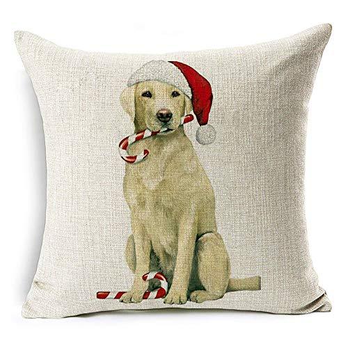 Funda display08para almohadas con estampado navideño de perro, Santa Claus, renos para decorar el hogar o para el sofá, Lino, #16 Labrador Retriever, #16 Labrador Retriever