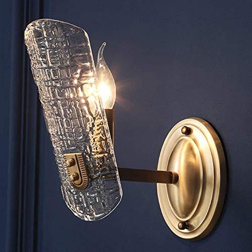 YUMUO Cobre dorado pared sola fuente de luz lámpara moderna minimalista sala de estar dormitorio pasillo luz poste moderno lámpara de pared de cristal 10 * 30