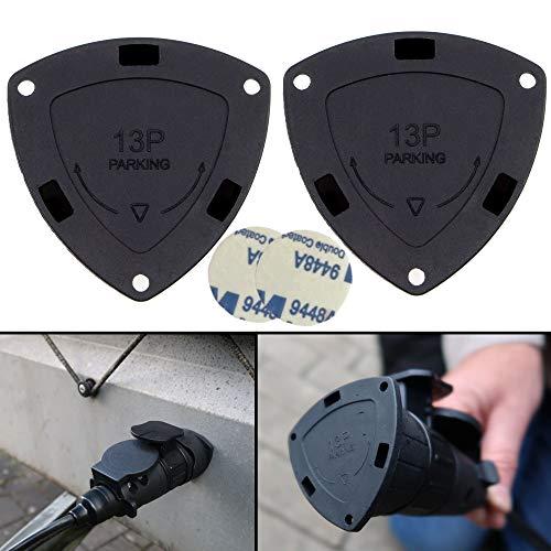 Parking Cover für 13 PIN Stecker, 2 Pack + 2x 3M Klebepads, Dreck und Feuchtigkeitsschutz, für 13 / 7 Pol Adapter und 13 polig Stecker, Erosionsschutz Steckverbindung Anhänger zu Auto, Regencover