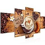 Küche Kaffee Bild Vlies Leinwandbild 5 Teilig Coffee Braun