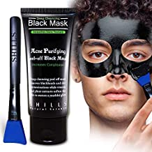SHILLS Black Mask for Men, Black Mask Purifying Peel Off Mask, Charcoal Mask, Blackhead Removal Mask, Peel Off Mask, Charcoal Mask and a Brush Set