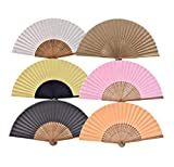 Salutto 6Pcs Folding Paper Hand Fan Bamboo Handheld Dancing Wedding Gift Party Home Office DIY Decor Mix-Color