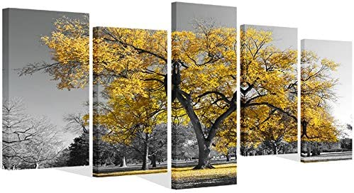 Visual Art Decor 5 Pieces Canvas Painting Prints Large Autumn Yellow Tree in Black and White product image