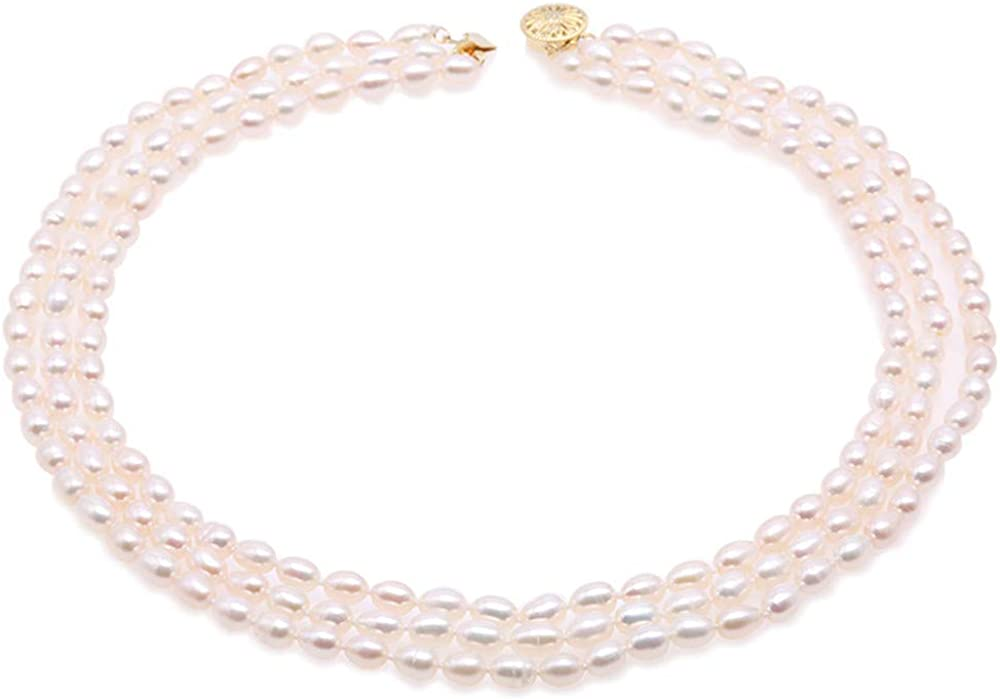 JYX JEWELRY 3 Strands Pearl Necklace Triple Regular store 5-5.5mm Classic Stra Max 57% OFF