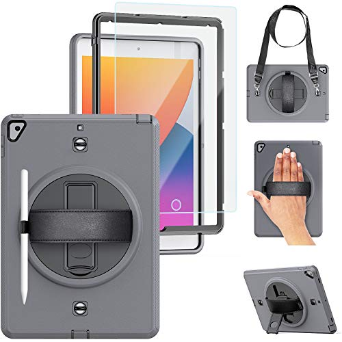 iPad Case 8th 7th Generation with Pencil Holder   TSQ iPad 10.2 Case 2020/2019 Shockproof   Rugged Bussiness Case w/Tempered Glass Rotatable Kickstand Hand Shoulder Strap for iPad 7th 8th Gen   Gray