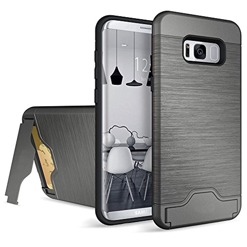 Baobeir Samsung Galaxy S8 Plus Case, Shockproof Heavy Duty Full Protective Cover with Credit Card Slot and Kickstand for Samsung Galaxy S8 Plus 6.2 Inches (2017 Release) (Gray 0)