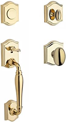 Baldwin SCWESXCURRTRR003 Reserve Single Cylinder Handleset Westcliff x Curve with Traditional Round Rose in Lifetime Brass Finish Right hand
