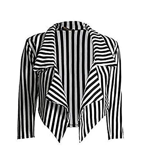 Zara Fashion -Women 3/4 Sleeve Striped Waterfall Crop Blazer Jacket Top (SM, Black White)