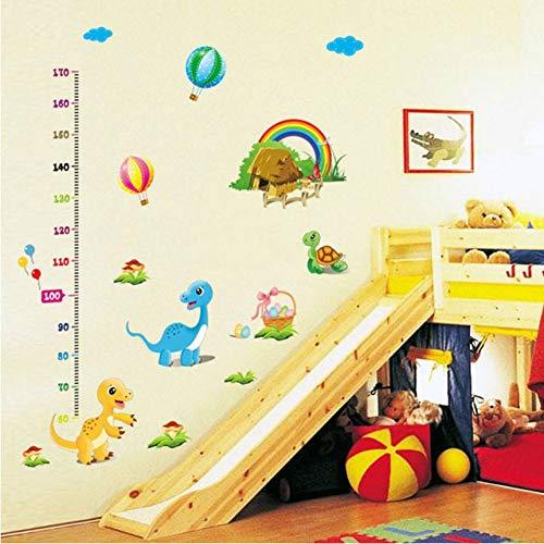 GUDOJK Muursticker diy thuis decor kind hoogte groei metingen Muur Stickers cartoon dinosaurus ballon decoratie
