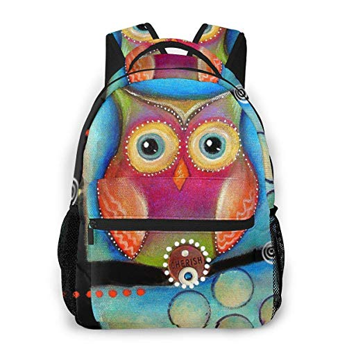 Lawenp Cherish Owl Casual Backpack For School Outdoor Travel Big Student Fashion Bag