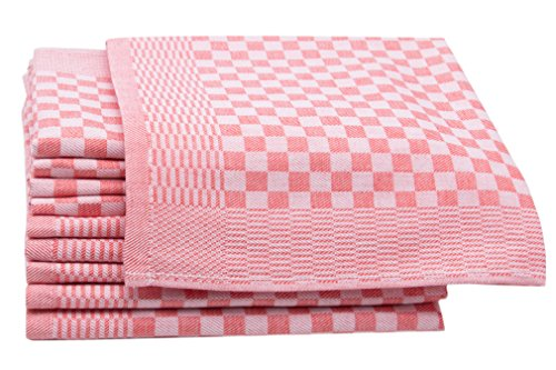 ZOLLNER 10 Trapos de Cocina, algodón, a Cuadros Rojos, 46x70 cm