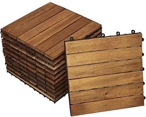 SAM Terrassenfliese 01 Akazienholz, 12er Spar-Set für 1,08 m², 6 Latten, Balkon Bodenbelag mit Drainage Unterkonstruktion, klick-Fliesen für Garten