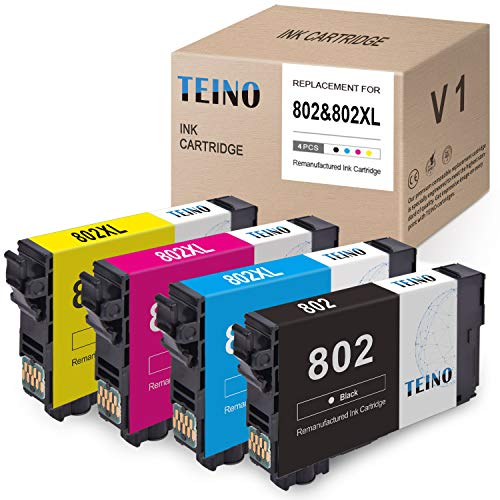 TEINO Remanufactured Ink Cartridge Replacement for Epson 802 802XL T802XL use with Epson Workforce Pro WF-4740 WF-4730 WF-4734 WF-4720 EC-4040 EC-4030 EC-4020 (Black, Cyan, Magenta, Yellow, 4-Pack)
