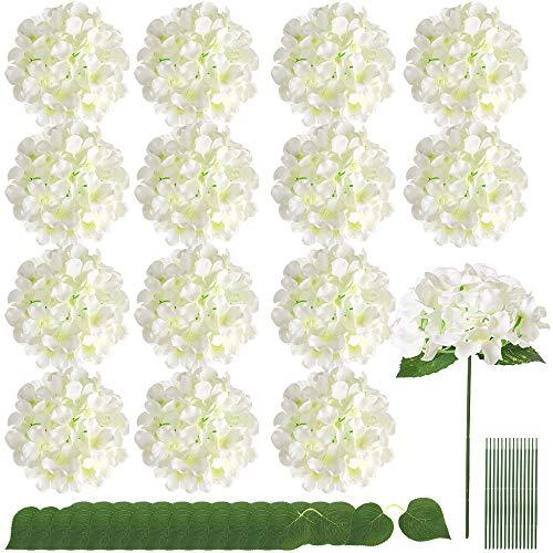 Auihiay 15 piezas de hortensias de seda flores artificiales con hojas gemelas y tallos para decoración del hogar, bodas y fiestas (marfil)
