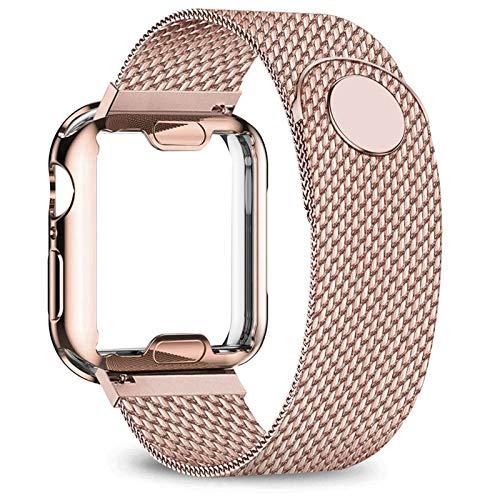 LRJBFC Caso + Correa para la Banda de Reloj de Apple 40mm 44mm 38mm 42mm Funda chapada + Cinturón de Metal Serie de Pulsera de Acero Inoxidable 6 5 4 3 2 SE