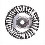 Nudo rueda de alambre, 15,24 cm cepillo giratorio de maleza conjunto nudo torcido rueda de alambre de acero cepillo de disco cabeza de 25,4 mm x 150 mm ajuste universal cortador de eje recto