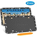 AONKEY Bling License Plate Frame, 2 Pack Black Silicone Diamond License Plate Frames for US Vehicles, Universal Rhinestones Car License Plate Holder, Rattle-Proof & Rust-Proof