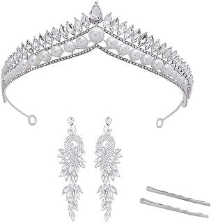 Pixnor Diad/ème de Mariage Cristal Strass Feuille Couronne Bandeau Mari/ée Princesse Coiffes Accessoires de Cheveux pour Les Concours de Mariage Anniversaire de Bal