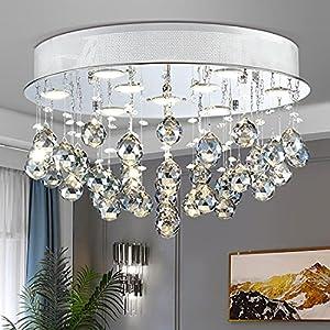 "TZOE Crystal Chandelier, Modern Chandeliers,Flush Mount Light Fixture,Ceiling Light for Kitchen Foyer Dining Room Bathroom Bedroom Living Room,9 GU10 LED Bulbs Required .Height 12"" x Width 20"""