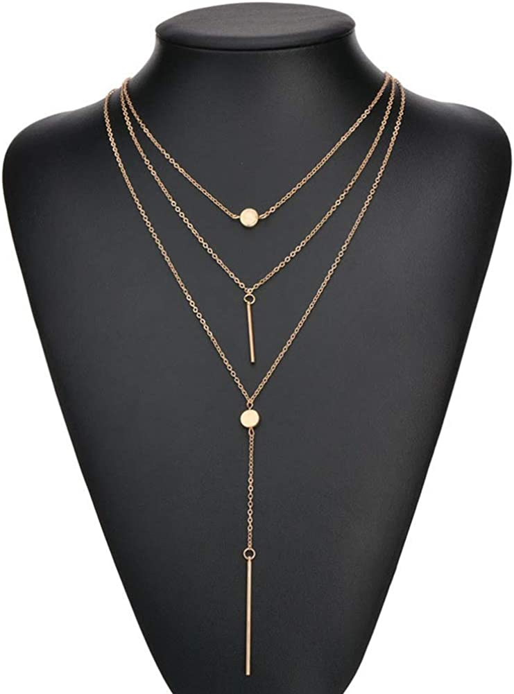 Necklaces, Fashion Women 3 Layers Beads Bar Tassel Charm Pendant Chain Necklace Jewelry - Golden