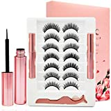 3D Magnetic Eyelashes and Eyeliner kit,Upgraded Magnet Eyelashes Magnetic Eyeliner Kit with Applicator,Magnetic Lashes Natural Looking for Women,Easy Eyelash to Wear.7 Pairs