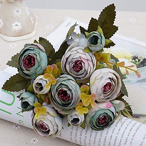 DHDHWL Kunstblumen 10heads / 1 Bündel Silk Teerosen Bride Bouquet for Weihnachten zu Hause Hochzeit Dekoration des neuen Jahres gefälschte Pflanzen künstliche Blumen (Color : Gray Blue)
