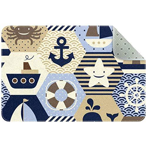 Yoliveya Alfombrillas antideslizantes de bienvenida con diseño de temática náutica superabsorbentes para oficina, cocina, baño, decoración del hogar en el interior de 76 x 50 cm