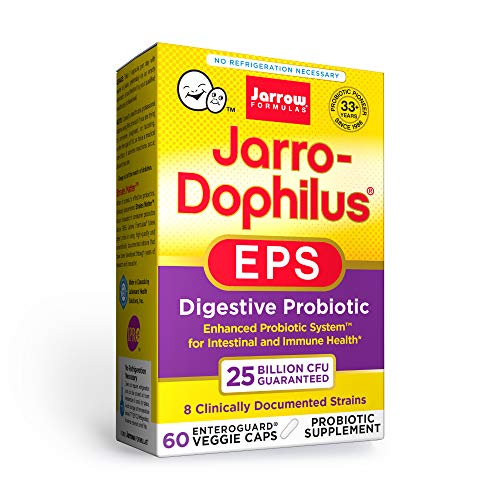 Jarrow Formulas Jarro-Dophilus EPS Higher Potency, Supports Intestinal and Immunal Health, 25 Billion Cells Per Veggie Capsules, 60 Count