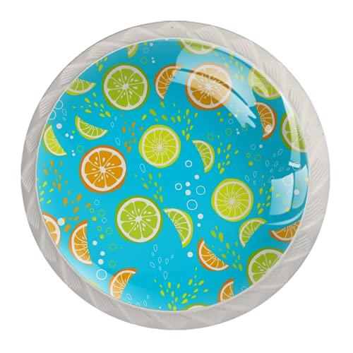 Manijas para cajones Perillas para gabinetes Perillas Redondas Paquete de 4 para armario, cajón, cómoda, cómoda, etc., Jalea de frutas y naranja