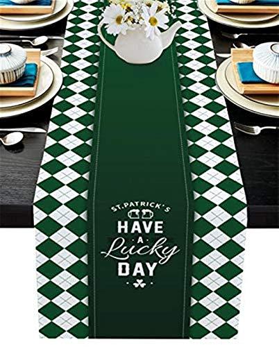VJRQM Chemin de Table de Cuisine en Toile de Jute Long Chemin de Table antidérapant pour Table de Cuisine Family Office,St. Patrick's Have A Lucky Day Gradient Green Shamrock Plaid,13x70 Pouces