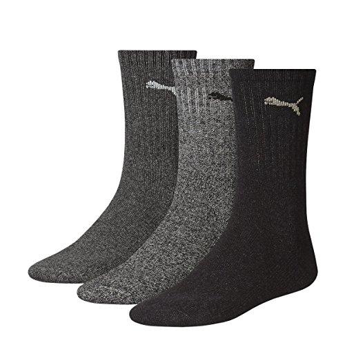 6 Paar PUMA Unisex Crew Socks Socken Sportsocken MIT FROTTEESOHLE (43-46, anthrazit/grey)