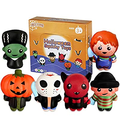 Halloween Toys,Squishy Super Soft Squeeze Squishes Novelty Characters Toys Stress Relief Gifts for Boys Girls