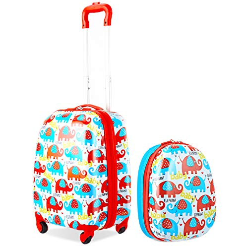 COSTWAY 2tlg Kinderkoffer + Rucksack Kofferset Kindergepäck Reisegepäck Kindertrolley Hartschalenkoffer (Rot)