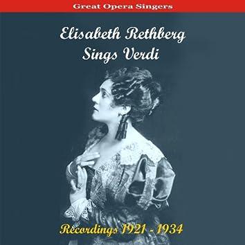 Great Opera Singers /  Elisabeth Rethberg Sings Verdi / Recordings 1921 - 1934